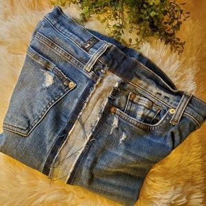 7 For All Mankind frayed striped jeans-RARE! sz 29